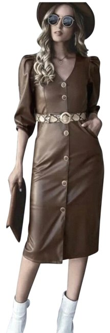 Item - Brown Faux Leather Belted Mid-length Work/Office Dress Size 8 (M)