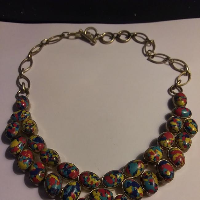 Item - Red Yellow Silver Blue Edwardian Victorian Sterling Mosaic Jasper Necklace