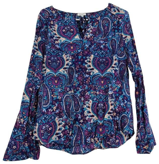 Item - Blue Paisley Neck Blouse Size 8 (M)