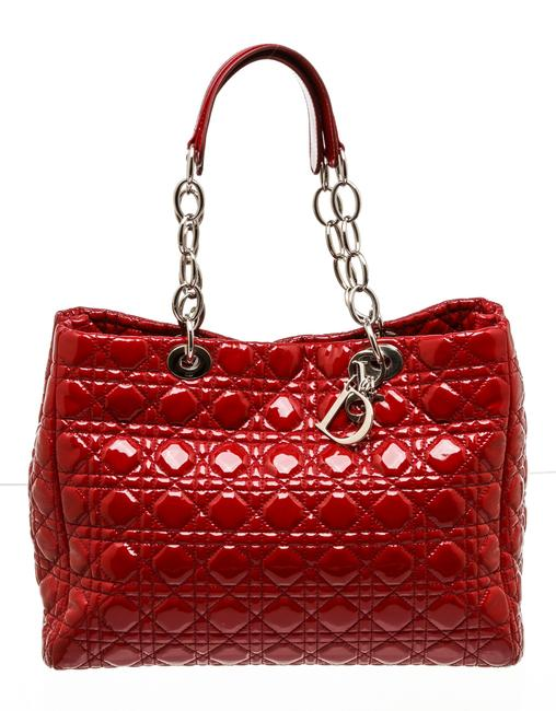 Dior Lady Cannage 503655 Red Patent Leather Tote Dior Lady Cannage 503655 Red Patent Leather Tote Image 1