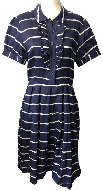 """Item - Blue and White """"violetta"""" Striped Silk Mid-length Short Casual Dress Size 6 (S)"""