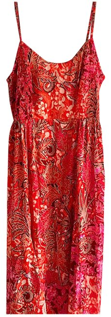 Item - Red Pink Green High/ Low Sun Long Casual Maxi Dress Size 6 (S)