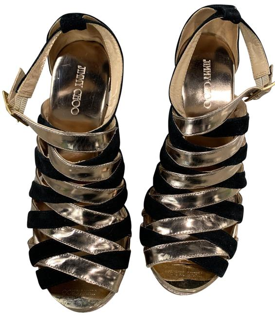 Item - Black & Gold Leather and Suede Color Sandals Wedges Size EU 37 (Approx. US 7) Regular (M, B)