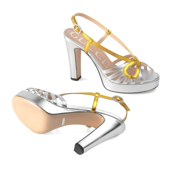 Item - Silver Gold Metallic Leather Platform Crossed Bow Sandals Size EU 37.5 (Approx. US 7.5) Regular (M, B)
