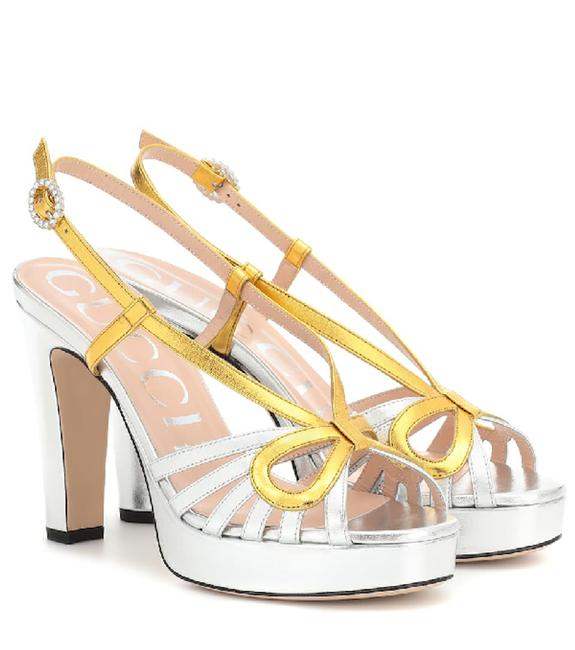 Item - Silver Gold Metallic Leather Crossed Bow Sandals Platforms Size EU 37 (Approx. US 7) Regular (M, B)
