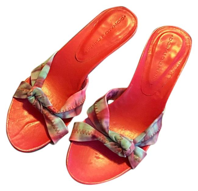 Item - Pink Green Blue and Brown Leather Couture Sandals Size US 6 Regular (M, B)