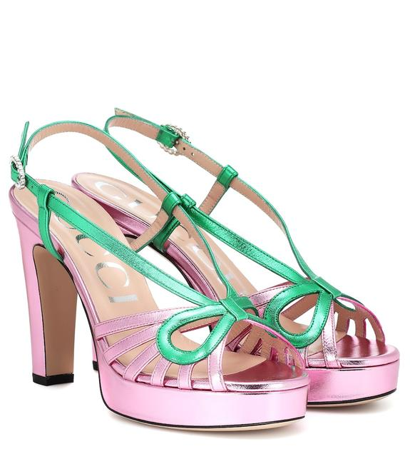 Item - Pink Green Metallic Leather Crossed Bow Sandals Platforms Size EU 39 (Approx. US 9) Regular (M, B)