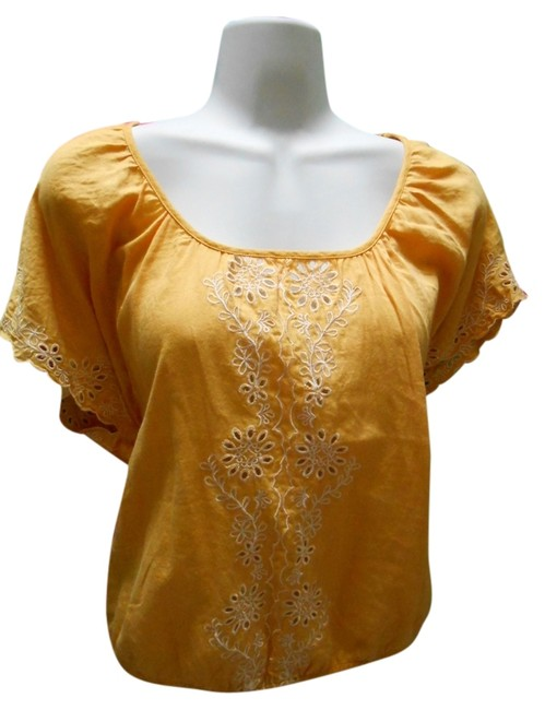 Forever 21 Cotton Pullover Shirt Small 4 6 8 All Cotton Cotton Lace Detail Islet Eyelet Embroidered Embroidery Bohemian Boho Top Golden Yellow Image 0