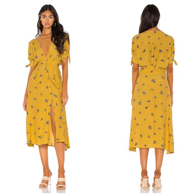 Item - Yellow Billie Floral Midi Night Out Dress Size 10 (M)