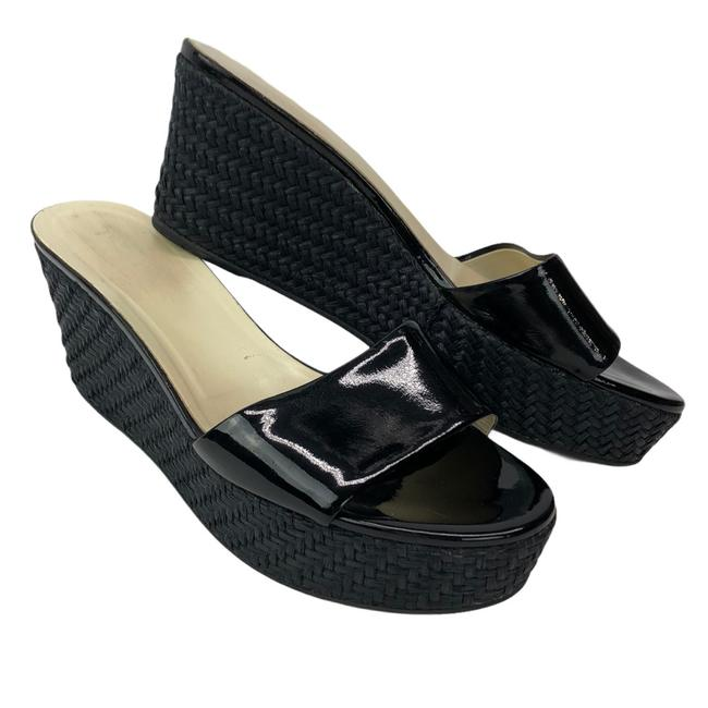 Item - Black Patent Leather Woven Wedge Sandals Size US 8.5 Regular (M, B)