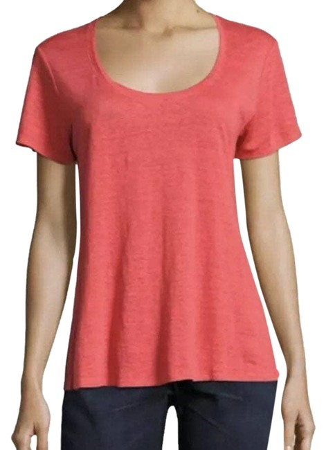 Item - Pink Scoop Neck Coral Linen Large Tee Shirt Size 14 (L)