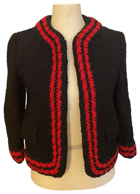 Item - Black Navy and Red Boucle Jacket with Knit Trim Blazer Size 6 (S)