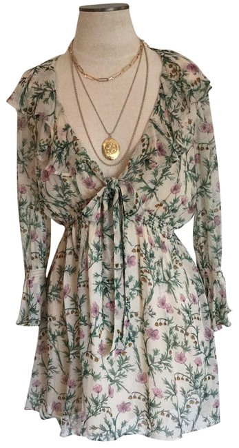 Item - Cream /Green/Pink Ca32054 Spring Floral Mid-length Short Casual Dress Size 6 (S)