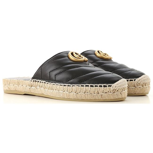 Item - Black Leather Gg Espadrilles Flats Size EU 37.5 (Approx. US 7.5) Regular (M, B)
