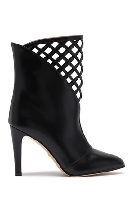 Item - Black Damir Lattice Cutout Leather Ankle 35 Boots/Booties Size EU 36 (Approx. US 6) Regular (M, B)
