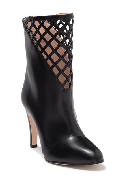 Item - Black Damir Lattice Cutout Leather Ankle Boots/Booties Size EU 37 (Approx. US 7) Regular (M, B)