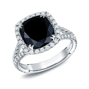 18k White Gold 3 1/3ct Tdw Black Cushion-cut Diamond Ring (g-h Vs1-vs2)
