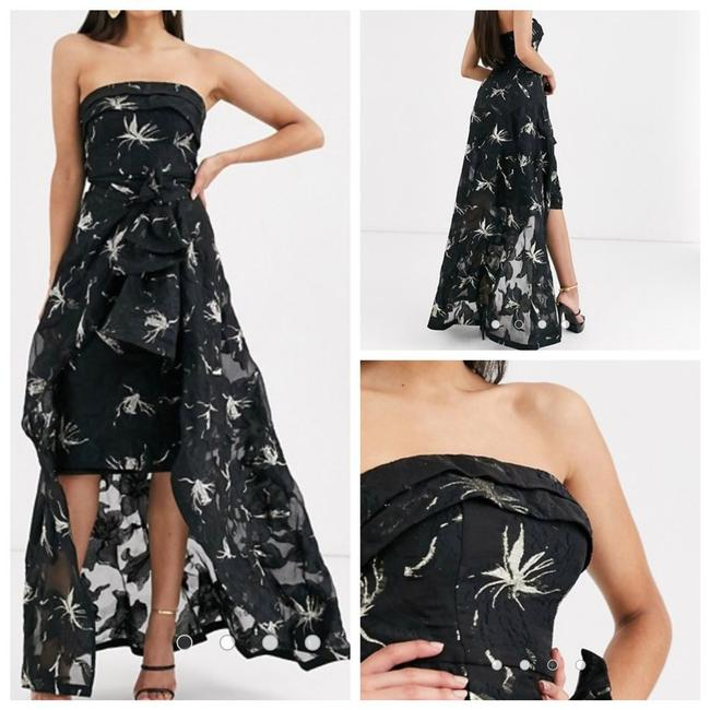 Item - Black Lucina and Gold Jacquard Strapless Midi Mid-length Formal Dress Size 2 (XS)
