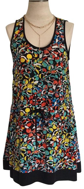 Item - Black/ Multi M4002707 Silk Summer Mid-length Short Casual Dress Size 6 (S)