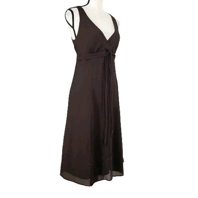 Item - Brown Silk Chiffon Empire Waist Midi Mid-length Night Out Dress Size 10 (M)