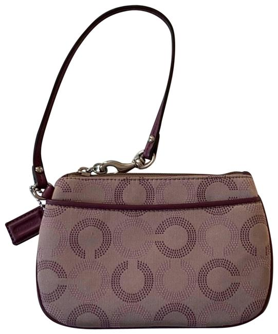 Item - Taupe with Grape Leather Trim Purple Wristlet