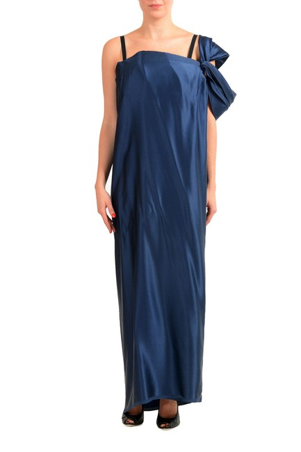 Item - Dark Blue Women's Silk Evening Ball Gown Long Formal Dress Size 8 (M)