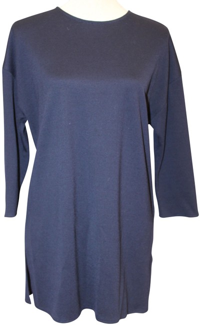 Item - 3/4 Sleeve Back Knit Tunic Blue Sweater