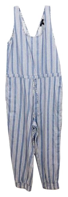 Item - Blue Drew Womens Striped Cropped Pant Drawstring Sleeveless Romper/Jumpsuit