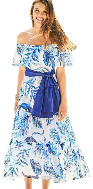 Item - Multicolor Sona Off-the-shoulder Tiered Mid-length Cocktail Dress Size 12 (L)