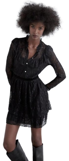 Item - Black W W/ Jewel Button Ruffled Round Neck Color New Short Cocktail Dress Size 4 (S)