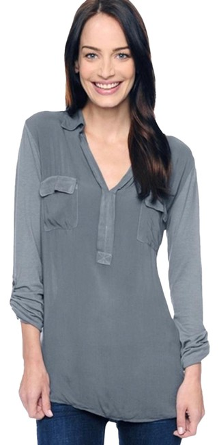 Item - Grey 3/4 Sleeve Mixed Media Shirt River Rock S Blouse Size 12 (L)