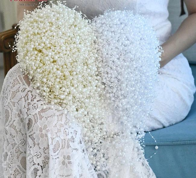 Item - Ivory Or White Pearl Waterfall Bouquet Single Bouquet Or 4 Pc Set. Prices Below.