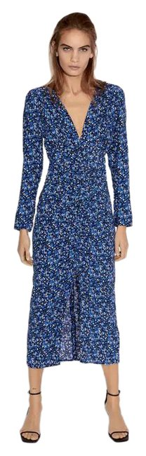 Item - Blue Floral Printed Midi V-neck Sleeves Blue/Black New Long Casual Maxi Dress Size 4 (S)