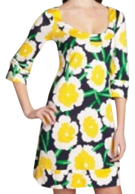 Item - Yellow Stella Silk Floral Open Back Short Casual Dress Size 2 (XS)