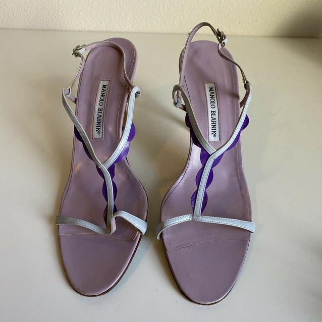 Item - Purple Ruffle T-strap Open Heels Stilettos Sandals Size EU 42 (Approx. US 12) Regular (M, B)