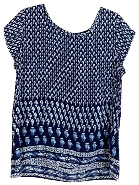 Item - Blue L Silk Navy and White Short Sleeve Blouse Size 12 (L)