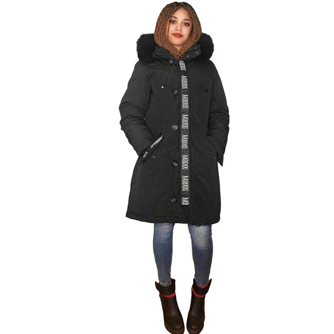 Item - Black Quilted Down Parka with Fox Fur Hood Trim Coat Size 6 (S)