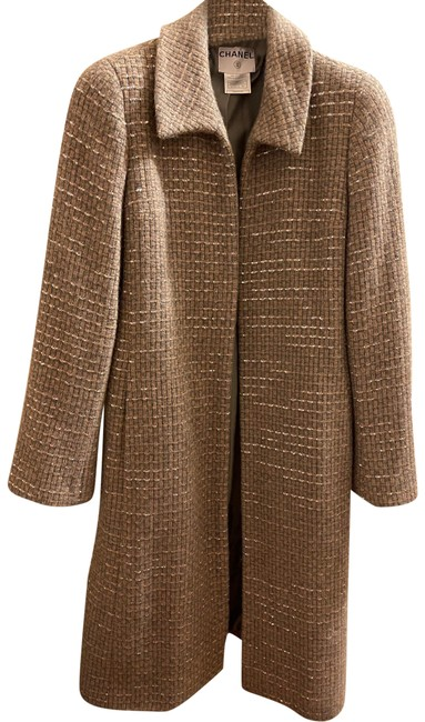 Item - Grey and Taupe with Sequin Detail Tweed Coat Size 8 (M)
