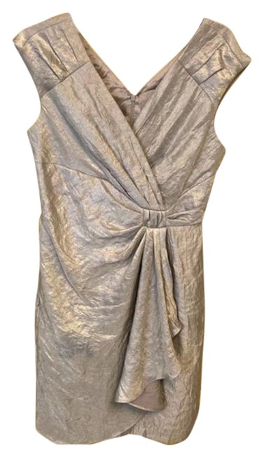 Item - Silver Steel Wrap Mid-length Cocktail Dress Size 10 (M)