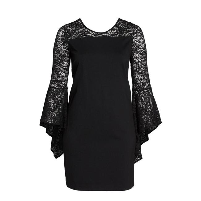Item - Black Bell Sleeve Shift Mid-length Cocktail Dress Size 14 (L)