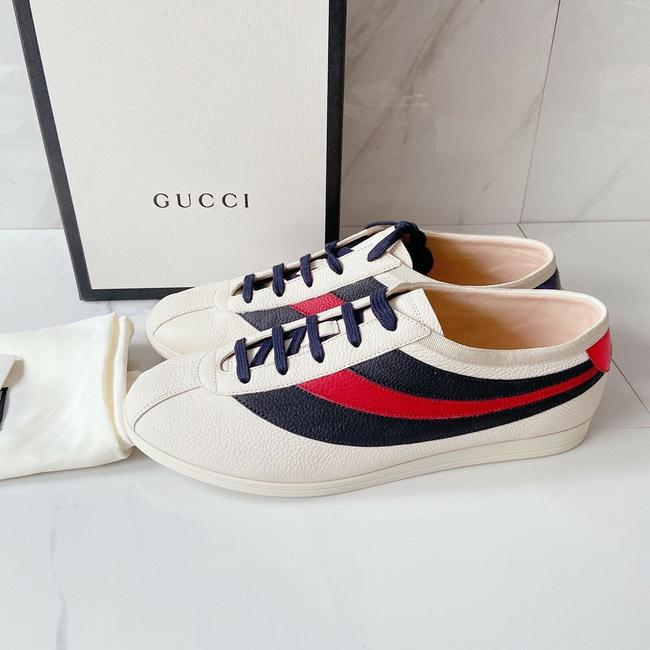 Item - White Navy Blue Red Falacer Womens Web Stripe Lace Up Bee Sneakers Athletic Size US 8.5 Regular (M, B)