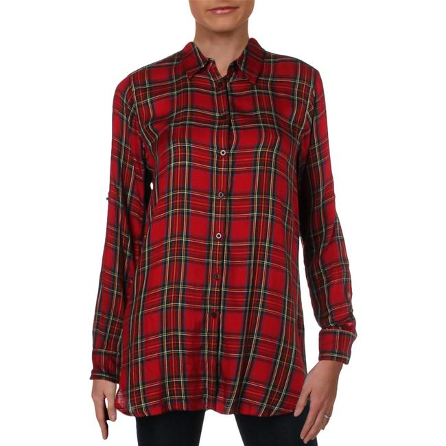 Item - Red Kawena Flannel Long Sleeve Button-down Top Size 10 (M)