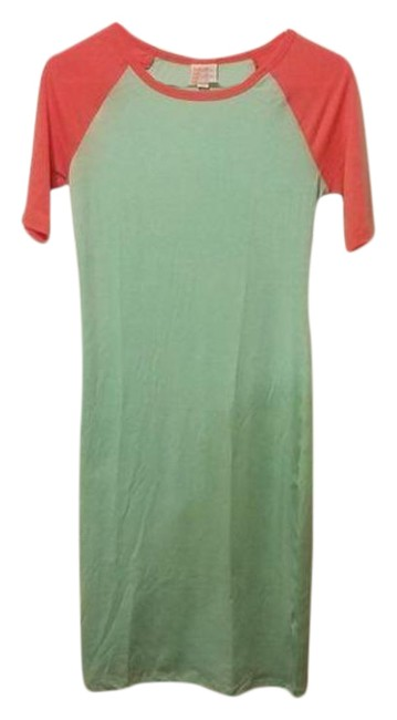 Item - Green Pink Julia Reglan Sleeve Xxs Mid-length Short Casual Dress Size 00 (XXS)