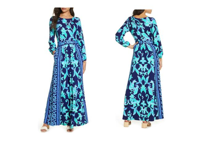Item - High Tide Navy Micole Floral Sleeve (00) Long Casual Maxi Dress Size 00 (XXS)