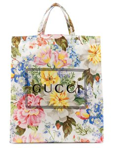 Item - Bag Floral Print Logo Dual Handle Vertical White Coated Cotton Tote