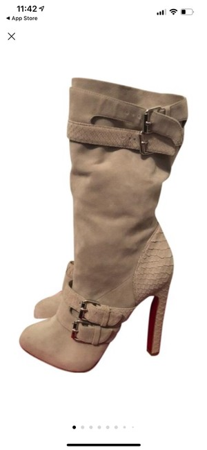 Item - Grey Loubi Ryder Buckled Python Platform Boots/Booties Size EU 37.5 (Approx. US 7.5) Narrow (Aa, N)