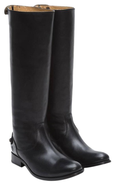 Item - Black Melissa Button Zip Leather Boots/Booties Size US 7.5 Regular (M, B)