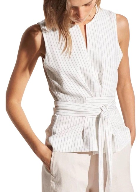 Item - White and Black Sleeveless Striped Tie Front Blouse Size 0 (XS)