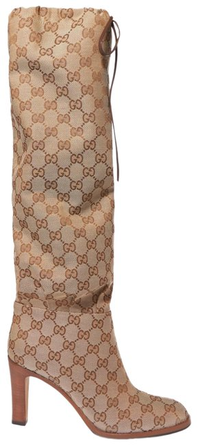 Item - Brown Gg Supreme Logo Monogram Coated Canvas and Leather Knee Boots/Booties Size EU 38.5 (Approx. US 8.5) Regular (M, B)