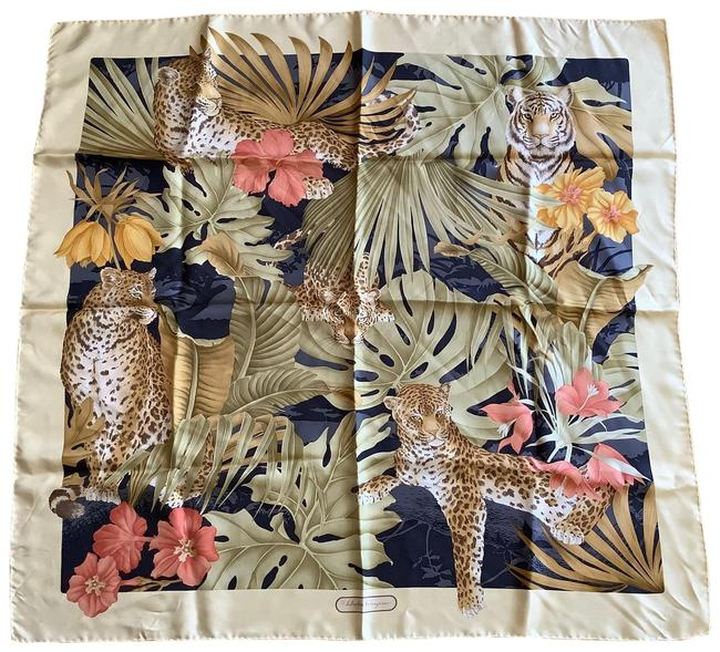 """Item - Light Golds Grey and Light Olives 34"""" Square Silk Scarf/Wrap"""
